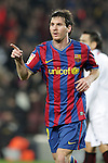 Football Season 2009-2010. Barcelona's player Lionel Messi celebrating his goal during their spanish liga soccer match at Camp Nou stadium in Barcelona. January 16, 2010.