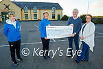 Elma and Fionnbar Walsh presents Maura O'Sullivan and Andrea O'Donoghue of the Kerry Hospice  €1,500 from the Donal Walsh Foundation from the proceeds of the Jerusalema dance challenge which was done by the Bons Secours Hospital. L to r: Andrea O'Donoghue, Maura O'Sullivan, Fionnbar and Elma Walsh