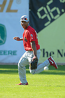 Williamsport Crosscutters outfielder Jiandido Tromp #23 during practice before a game against the Jamestown Jammers on June 20, 2013 at Russell Diethrick Park in Jamestown, New York.  Jamestown defeated Williamsport 12-6.  (Mike Janes/Four Seam Images)