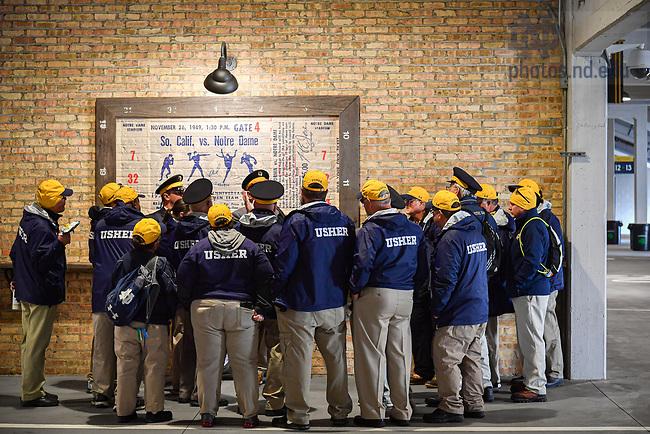 October 12, 2019; Notre Dame Stadium ushers meet prior to the USC game. (Photo by Matt Cashore)