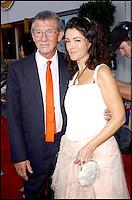 Actor JOHN HURT + wife ANN REES MEYERS @ the Los Angeles premiere of 'The Skeleton Key' held @ the Santa Monica pier. #