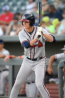 Designated hitter Bryce Ball (45) of the Rome Braves bats in a game against the Columbia Fireflies on Saturday, August 17, 2019, at Segra Park in Columbia, South Carolina. Rome won, 4-0. (Tom Priddy/Four Seam Images)