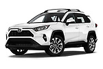 Stock pictures of low aggressive front three quarter view of a 2019 Toyota RAV4 XLE Premium 5 Door SUV