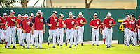 22 February 2013: The Washington Nationals warm up to start a full squad Spring Training workout at Space Coast Stadium in Viera, Florida. Mandatory Credit: Ed Wolfstein Photo *** RAW File Available ***