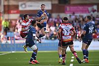 9th October 2021; Kingsholm Stadium, Gloucester, England; Gallagher Premiership Rugby, Gloucester versus Sale Sharks;  Luke James of Sale Sharks catches a high kick