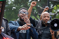 A speaker with the new Black Panther party speaks in front of the White House during a march against police brutality and racism in Washington, D.C. on Saturday, June 6, 2020.<br /> Credit: Amanda Andrade-Rhoades / CNP/AdMedia