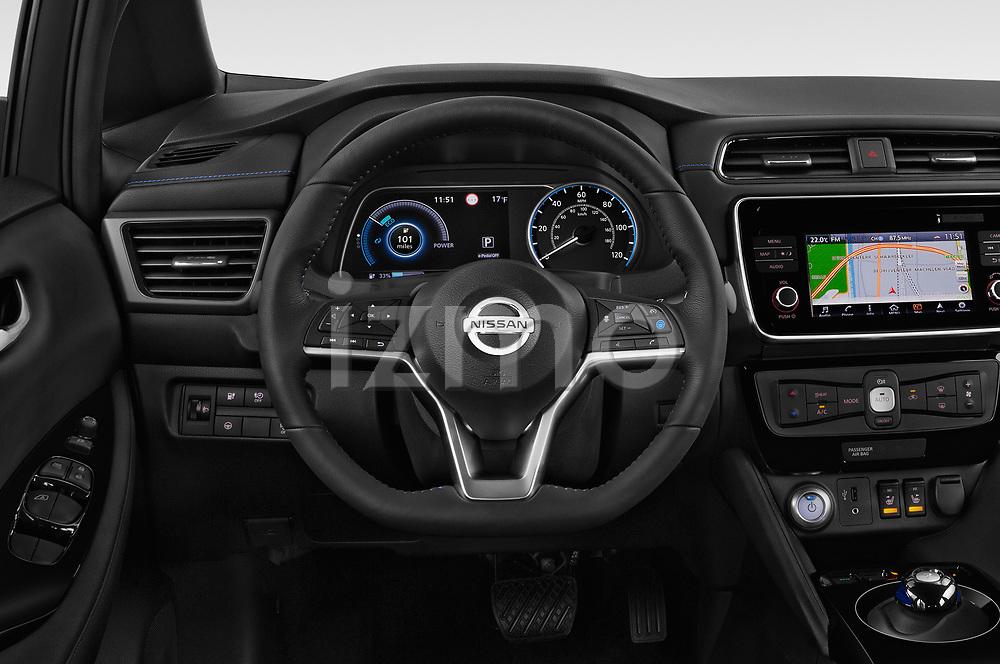 Car pictures of steering wheel view of a 2019 Nissan Leaf SV 5 Door Hatchback