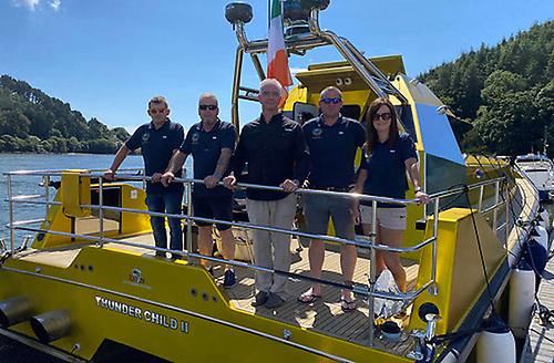 The Thunder Child II crew, from left: engineer Robert Guzik, navigator Ciaran Monks, skipper Frank Kowalski, drone pilot Carl Randalls and Mary Power, logistics