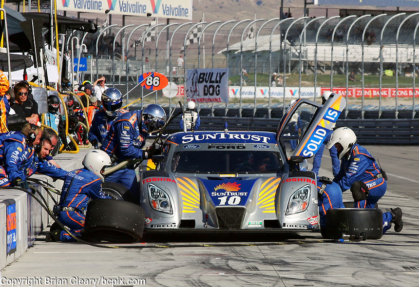 The #10 Ford Dallara of Max Angelelli and Brina Frisselle  makes a pit stop during the Utah 250 Grand-Am Rolex series race at Miller Morosports Park in Tooele, UT on Saturday, September 19, 2009.  (Photo by Brian Cleary/www.bcpix.com)