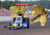 Aug 18, 2019; Brainerd, MN, USA; NHRA top fuel driver Brittany Force during the Lucas Oil Nationals at Brainerd International Raceway. Mandatory Credit: Mark J. Rebilas-USA TODAY Sports