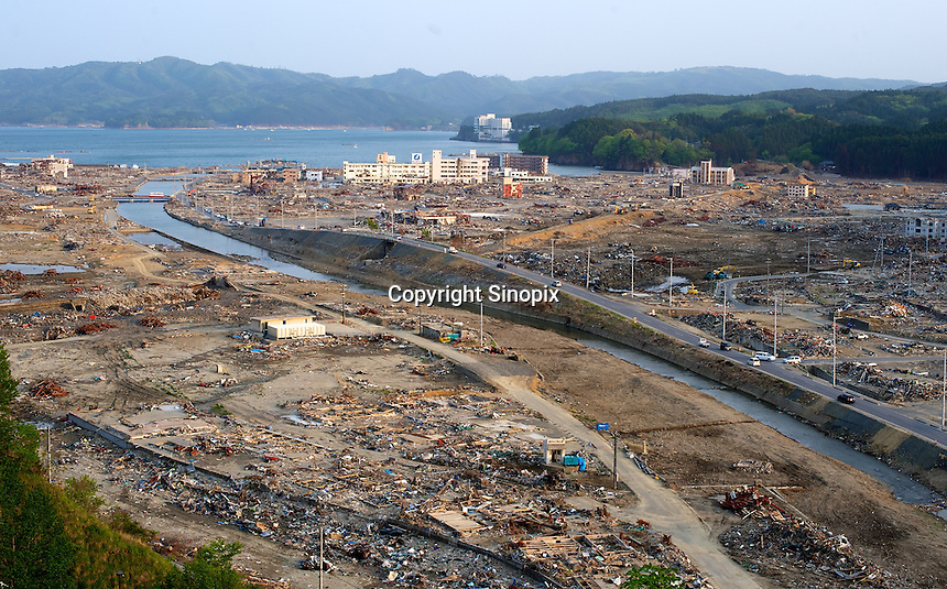 Minamisanriku, Myiagi, Japan.The fishing port of Minamisanriku, Miyagi, Japan was devastated by the March 11th tsunami where the popultion was reduced from 18,000 to about 8,000 when 10,0000 where washed out to sea.<br /> <br /> Photo by Richard Jones/ Sinopix
