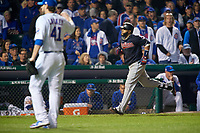 Cleveland Indians Carlos Santana (41) rounds the bases after hitting a home run off pitcher John Lackey (41) in the second inning during Game 4 of the Major League Baseball World Series against the Chicago Cubs on October 29, 2016 at Wrigley Field in Chicago, Illinois.  (Mike Janes/Four Seam Images)