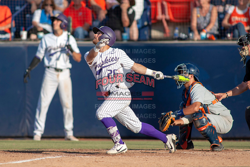 University of Washington Huskies Levi Jordan (26) follows through on his swing against the Cal State Fullerton Titans at Goodwin Field on June 09, 2018 in Fullerton, California. The Cal State Fullerton Titans defeated the University of Washington Huskies 5-2. (Donn Parris/Four Seam Images)