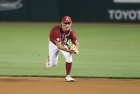 Arkansas infielder Robert Moore (1) catches, Saturday, June 5, 2021 in the second game of the NCAA Fayetteville Regional at Baum-Walker Stadium in Fayetteville. Check out nwaonline.com/210606Daily/ for today's photo gallery. <br /> (NWA Democrat-Gazette/Charlie Kaijo)