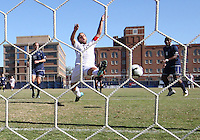 Jose Colchao #11 of Georgetwn University reaches out for a cross during a Big East match against Villanova University at North Kehoe Field, Georgetown University on October16 2010 in Washington D.C. Georgetown won 3-1.