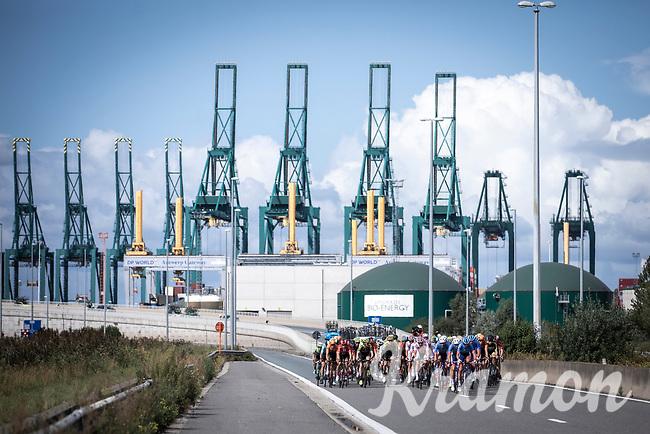 Peloton racing through the Port of Antwerp<br /> <br /> Antwerp Port Epic 2019 <br /> One Day Race: Antwerp > Antwerp 187km<br /> <br /> ©kramon