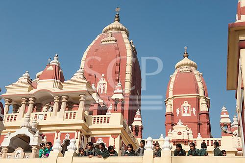 Delhi, India. Birla Mandir Hindu temple to Laxmi and Narayan. School children.