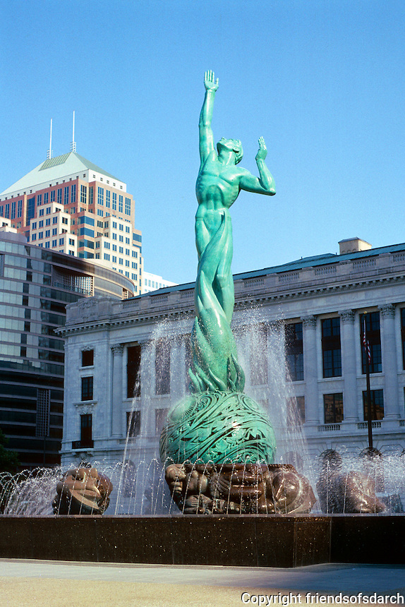 "Cleveland: Sculpture in front of library. ""Peace Arising from the Flames of War"". 1925? N. 1964! War Memorial Fountain. Photo '01."