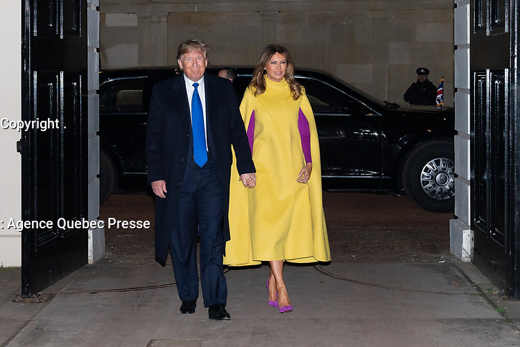 President Trump and First Lady Melania Trump Attend a NATO Leaders' Reception<br /> <br /> President Donald J. Trump and First Lady Melania Trump walk from the presidential limousine to greet Britain's Prince of Wales and the Duchess of Cornwall Tuesday, Dec. 3, 2019, at Clarence House in London. (Official White House Photo by Andrea Hanks)