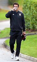 Manager Chris Coleman sips coffee as he arrives during the Wales Training Session at The Vale Resort, Wales, UK. 06 November 2017