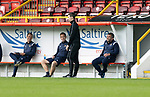 Aberdeen v St Johnstone…18.09.21  Pittodrie    SPFL<br />Callum Davidson, Steve MacLeand Alec Cleland have a laugh with 4th official Peter Stuart<br />Picture by Graeme Hart.<br />Copyright Perthshire Picture Agency<br />Tel: 01738 623350  Mobile: 07990 594431