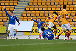 St Johnstone v Motherwell…21.11.20   McDiarmid Park      SPFL<br />Stevie May is fouled by Bevis Mugabe for a penalty<br />Picture by Graeme Hart.<br />Copyright Perthshire Picture Agency<br />Tel: 01738 623350  Mobile: 07990 594431