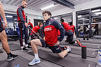 (L-R) Oliver McBurnie and Daniel James exercise in the gym during the Swansea City Training at The Fairwood Training Ground, near Swansea, Wales, UK. Friday 19 January 2018