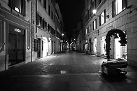 """Via Frattina.<br /> <br /> Rome, 23/10/2020. Documenting the """"curfew"""" (coprifuoco) imposed from Friday night in Rome and its surrounding Lazio Region. The local authorities tightened rules and restrictions due to a spike in the Covid-19 / Coronavirus cases. 23 October bulletins sees 19.143 new cases, 91 people died, 182.032 tests made. Today, the President of Lazio Region, Nicola Zingaretti (Leader of the Democratic Party, PD, party member of the Italian Coalition Government), imposed the night curfew, from midnight to 5AM, for 30 days (1.). A new self-certification (autocertificazione, downloadable from here 1.) is needed to leave home which is allowed only for urgent reasons, mainly work and health. Furthermore, the Mayor of Rome, Virginia Raggi, implemented """"no-go zones"""" restrictions from 9PM in some of the areas and squares of the Eternal City famous for the nightlife, including Campo de' Fiori, Via del Pigneto, Piazza Trilussa in Trastevere district and Piazza Madonna de' Monti.<br /> <br /> Footnotes & Links:<br /> 1. http://www.regione.lazio.it/binary/rl_main/tbl_news/ordinanza_regione_lazio_intesa_Ministro_salute__mod_accettate_rev1__ore_24_1_signed.pdf<br /> <br /> March 2020, Coronavirus lockdown in Rome:<br /> - 12.03.2020 - Rome's Lockdown for the Outbreak of the Coronavirus In Italy - SARS-CoV-2 - COVID-19: https://lucaneve.photoshelter.com/gallery/12-03-2020-Romes-Lockdown-for-the-Outbreak-of-the-Coronavirus-In-Italy-SARS-CoV-2-COVID-19/G0000jGtenBegsts/<br /> - 07-23.03.2020 - Villaggio Olimpico Ai Tempi del COVID-19 - Rome's Olympic Village Under Lockdown: https://lucaneve.photoshelter.com/gallery/07-23-03-2020-Villaggio-Olimpico-Ai-Tempi-del-COVID-19-Romes-Olympic-Village-Under-Lockdown/G0000D2L9l0ibXZI/"""