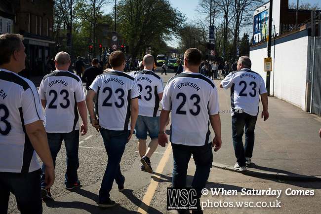 Tottenham Hotspur 4 Watford 0, 08/04/2017. White Hart Lane, Premier League. A group of home supporters in matching replica shirts making their way from the ground at the end of the game as Tottenham Hotspur took on Watford in an English Premier League match at White Hart Lane. Spurs were due to make an announcement in April 2016 regarding when they would move out of their historic home and relocate to Wembley as their new stadium was completed. Spurs won this match 4-0 watched by a crowd of 31,706, a reduced attendance figure due to the ongoing ground redevelopment. Photo by Colin McPherson.