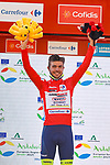 Race leader Odd Christian Eiking (NOR) Intermarché-Wanty-Gobert Matériaux retains the Red Jersey at the end of Stage 12 of La Vuelta d'Espana 2021, running 175km from Jaén to Córdoba, Spain. 26th August 2021.     <br /> Picture: Luis Angel Gomez/Photogomezsport   Cyclefile<br /> <br /> All photos usage must carry mandatory copyright credit (© Cyclefile   Luis Angel Gomez/Photogomezsport)