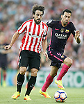 Athletic de Bilbao's Benat Etxebarria (l) and FC Barcelona's Sergio Busquets during La Liga match. August 28,2016. (ALTERPHOTOS/Acero)