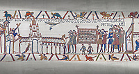 Bayeux Tapestry scene 26 :  Edward The Confessor's Corpes is carried to St Peters Church.