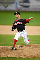 Batavia Muckdogs pitcher Jeffrey Kinley (30) delivers a pitch during the second game of a doubleheader against the Mahoning Valley Scrappers on July 2, 2015 at Dwyer Stadium in Batavia, New York.  Mahoning Valley defeated Batavia 3-0.  (Mike Janes/Four Seam Images)