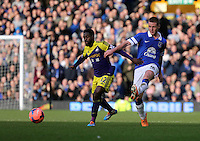 Pictured L-R: Nathan Dyer of Swansea and James McCarthy of Everton. Sunday 16 February 2014<br /> Re: FA Cup, Everton v Swansea City FC at Goodison Park, Liverpool, UK.
