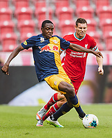 25th August 2020, Red Bull Arena, Slazburg, Austria; Pre-season football friendly, Red Bull Salzburg versus Liverpool FC;  Enock Mwepu FC Red Bull Salzburg chased by James Milner FC Liverpool