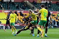 20th April 2021; Carrow Road, Norwich, Norfolk, England, English Football League Championship Football, Norwich versus Watford; Todd Cantwell of Norwich City sees his break blocked by William Troost-Ekong of Watford