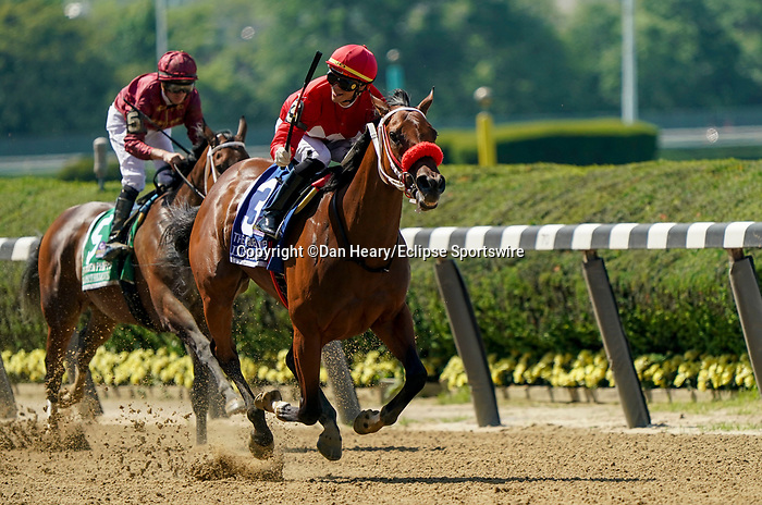 June 5, 2021: Letruska, #3, ridden by jockey Jose Ortiz, wins the Ogden Phipps Win and You're In Stakes on Belmont Stakes Day at the Belmont Stakes Festival at Belmont Park in Elmont, New York. Dan Heary/Eclipse Sportswire/CSM