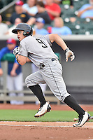 Jackson Generals catcher Marcus Littlewood (9) runs to first during a game against the Tennessee Smokies at Smokies Stadium on July 5, 2016 in Kodak, Tennessee. The Generals defeated the Smokies 6-4. (Tony Farlow/Four Seam Images)