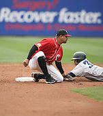 2007:  Luis Rivas of the Buffalo Bisons tags out a base runner while covering second base vs. the Columbus Clippers in International League baseball action.  Photo copyright Mike Janes Photography 2007.