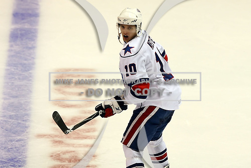 January 9th, 2009:  Stefan Meyer (10) of the Rochester Amerks during the second period vs. the Syracuse Crunch at Blue Cross Arena in Rochester, NY.  Rochester defeated Syracuse 3-1 for their third straight win.  Photo Copyright Mike Janes Photography 2009