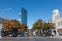 A view down Mamaroneck Avenue toward the Residences at the Ritz-Carlton, Westchester, in White Plains, New York on a crisp Autumn day.