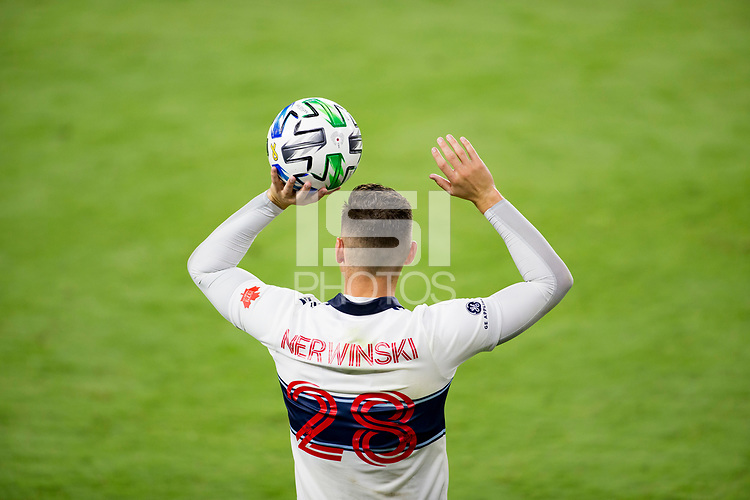 LOS ANGELES, CA - SEPTEMBER 23: Jake Nerwinski #28 of the Vancouver Whitecaps with a throw in during a game between Vancouver Whitecaps and Los Angeles FC at Banc of California Stadium on September 23, 2020 in Los Angeles, California.
