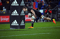 New Zealand's Dalton Papalii scores during the Steinlager Series rugby match between the New Zealand All Blacks and Tonga at Mt Smart Stadium in Auckland, New Zealand on Saturday, 3 July 2021. Photo: Dave Lintott / lintottphoto.co.nz