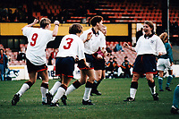 England players celebrate a goal during England Women vs Germany Women, European Championship Semi-Final 1st Leg Football at Vicarage Road, Watford FC on 11th December 1994