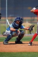 Tampa Bay Rays catcher Dawson Dimon (63) during a Minor League Spring Training game against the Boston Red Sox on March 25, 2019 at the Charlotte County Sports Complex in Port Charlotte, Florida.  (Mike Janes/Four Seam Images)