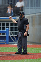 Home plate umpire Warren Knepp makes a strike call during the Atlantic Coast Prospect Showcase hosted by Perfect Game at Truist Point on August 22, 2020 in High Point, NC. (Brian Westerholt/Four Seam Images)
