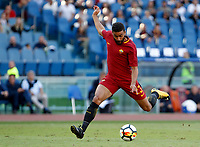 Calcio, Serie A: Roma vs Udinese. Roma, stadio Olimpico, 23 settembre 2017.<br /> Roma's Gregoire Defrel kicks the ball during the Italian Serie A football match between Roma and Udinese at Rome's Olympic stadium, 23 September 2017. Roma won 3-1.<br /> UPDATE IMAGES PRESS/Riccardo De Luca