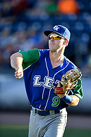 Right fielder Cal Jones (9) of the Lexington Legends warms up before a game against the Greenville Drive on Saturday, September 1, 2018, at Fluor Field at the West End in Greenville, South Carolina. Greenville won, 9-6. (Tom Priddy/Four Seam Images)