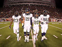 California captains' Josh Hill, Keenan Allen, Isi Sofele and Kendrick Payne walk on the field for coin toss before the game against Utah at Rice-Eccles Stadium in Salt Lake City, Utah on October 27th, 2012.   Utah Utes defeated California, 49-27.