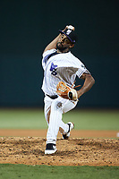 Winston-Salem Dash relief pitcher Yoelvin Silven (25) in action against the Greensboro Grasshoppers at Truist Stadium on August 11, 2021 in Winston-Salem, North Carolina. (Brian Westerholt/Four Seam Images)